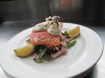 Baked salmon and salad